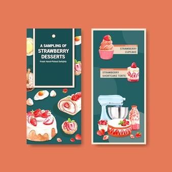 イチゴのベーキングチラシテンプレートデザイン
