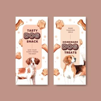Набор шаблонов рекламных буклетов акварель собака
