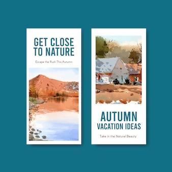 秋のデザインの風景とチラシテンプレート