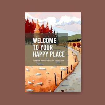 秋のデザインの風景とポスターテンプレート。秋のシーズン