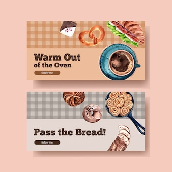 Баннер шаблон дизайна с пекарней акварель иллюстрации