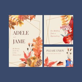 結婚式のカードと招待状の水彩画の秋の毎日のテンプレートデザイン