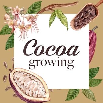 Шоколадные акварельные ингредиенты листья какао, масло, иллюстрация