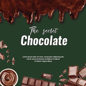 チョコレートの水彩画チョコレートの飲み物とバー、イラスト