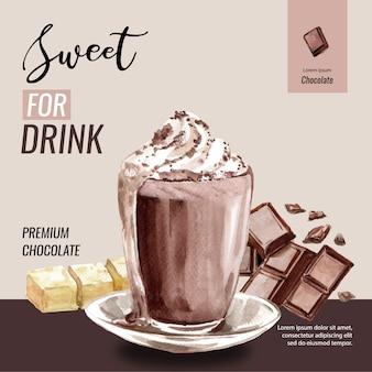 チョコレートココア支店木水彩画とチョコレートのフラッペドリンク、イラスト