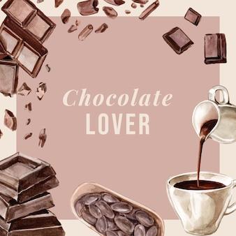 Шоколадные акварельные ингредиенты, изготовление шоколадного напитка, иллюстрация