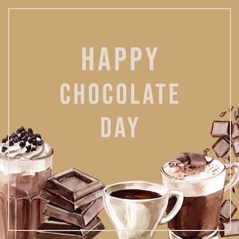 チョコレートの水彩画素材、チョコレートの飲み物を作る、イラスト