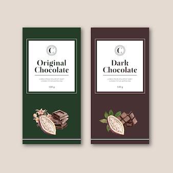 Шоколадная упаковка с ингредиентами филиал какао, акварель иллюстрация