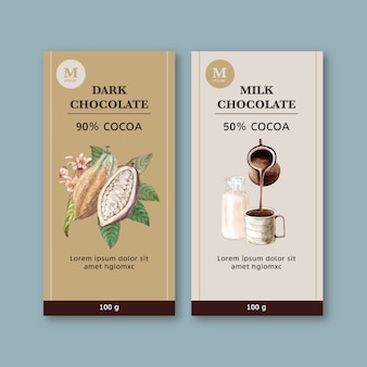 チョコレート支店食材支店ココア、水彩イラスト
