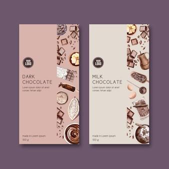 チョコレートパッキング成分ココア作り、水彩イラスト