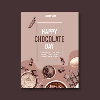 Шоколадный плакат с ингредиентами, делающими шоколадный батончик сломанным, иллюстрация акварели