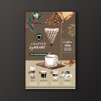 コーヒーカップの種類、アメリカ、カプチーノ、エスプレッソメニュー、インフォグラフィック水彩イラスト
