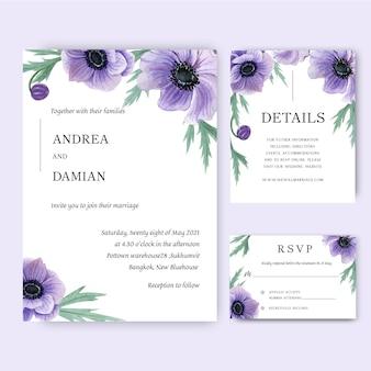 ケシの花の水彩画の花束の招待状、日付、結婚式の招待状を保存