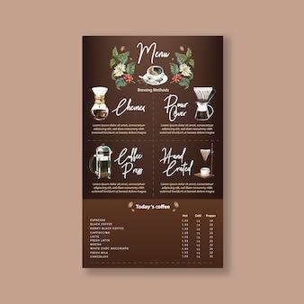 Кофеен меню американо, капучино, эспрессо меню, инфографика, акварель иллюстрации