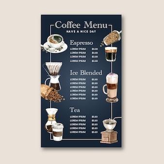 コーヒーハウスメニューアメリカン、カプチーノ、エスプレッソメニュー、インフォグラフィック、水彩イラスト