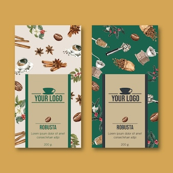 枝とコーヒー包装袋の葉豆、ヴィンテージ、水彩イラスト