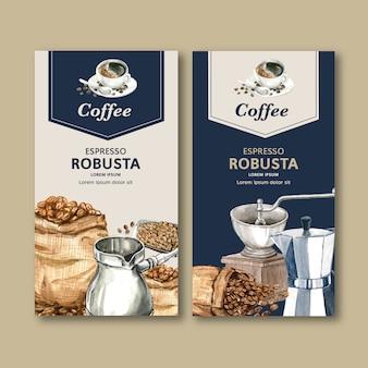 豆、コーヒーカップメーカー機、水彩イラストのコーヒー包装袋