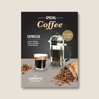 Американо, капучино кофе постер скидка, шаблон современный, акварель иллюстрация