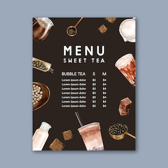 Набор коричневого сахара пузырьковый чай с молоком, меню рекламы, винтаж, акварель