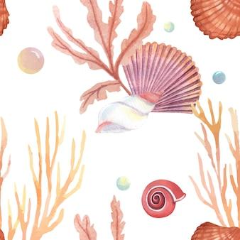 海のシェル海洋生物パターンシームレス、ビーチでの休暇旅行夏