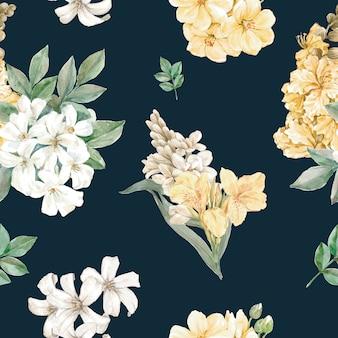 Цветочный узор в стиле акварели