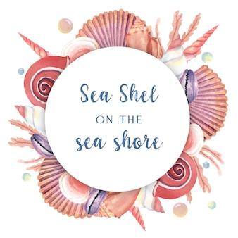 Ракушки венок морской жизни летнее путешествие на пляж