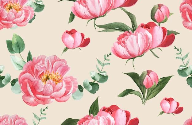 植物柄花水彩、感謝カード、テキスタイルプリントイラスト