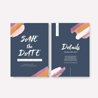 ブラシストロークと水彩の結婚式カードテンプレート