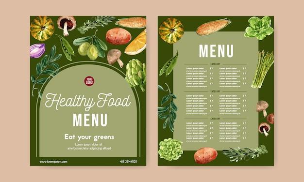 Коллекция растительных акварельных красок. иллюстрация органического меню свежих продуктов здоровая