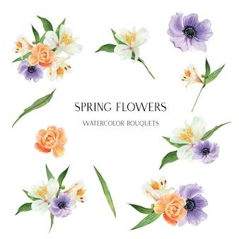 ケシ、ユリ、牡丹の花のブーケ植物花柄イラストレーション水彩画