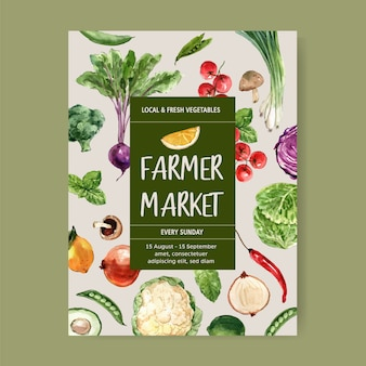 Коллекция растительных акварельных красок. свежие продукты органические плакат флаер здоровой иллюстрации