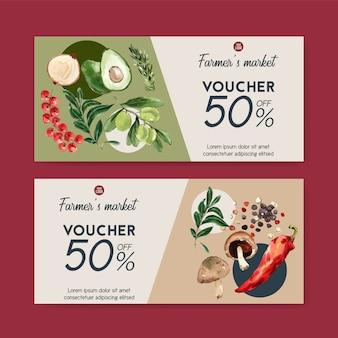Подарочный ваучер растительный акварельные краски коллекции. иллюстрация свежих продуктов органическая здоровая