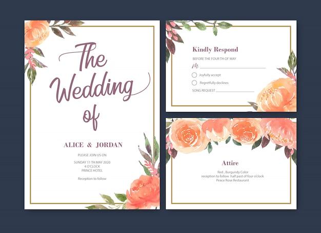 結婚式カード花水彩、感謝カード、招待結婚イラスト