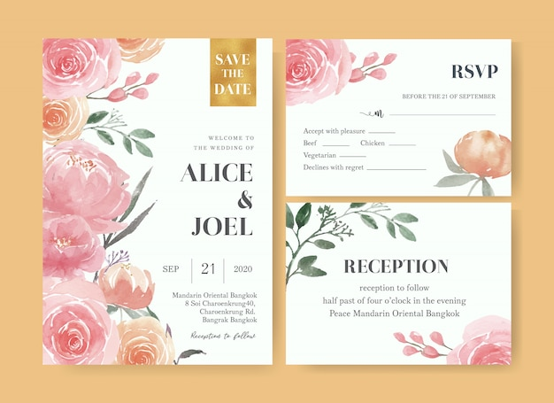 Акварель цветочные свадебные карточки