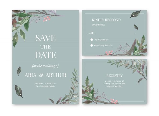 水彩花の結婚式のカードテンプレート