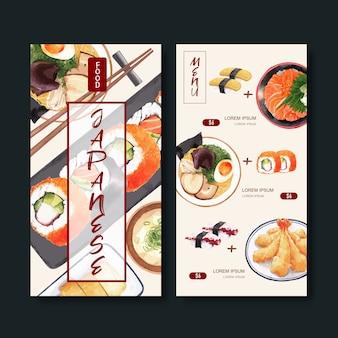 Коллекция суши-меню для ресторана. шаблон с пищевыми акварельными иллюстрациями.