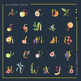 Декоративный другой тип фруктов алфавит английский шрифт. акварельные иллюстрации шаблон.