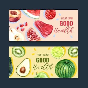 Баннер с темой фрукты, креативный красочный шаблон иллюстрации