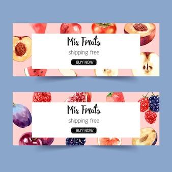 Баннер с различными фруктами концепции, шаблон акварель иллюстрации