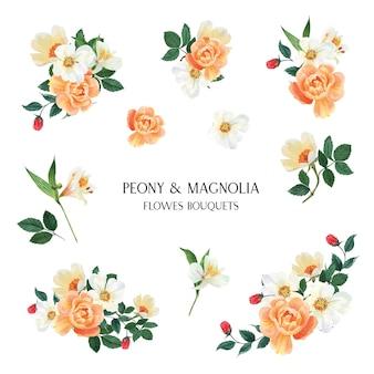 牡丹、モクレン、ユリの花の水彩画の花束植物花柄イラストレーション