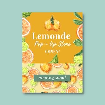 フルーツをテーマにしたポスター、創造的なオレンジ色の水彩イラストテンプレート。