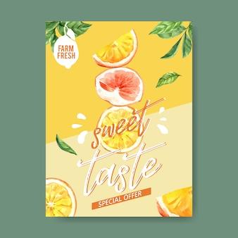 フルーツテーマの水彩画、創造的なイチゴのイラストテンプレートとポスター。