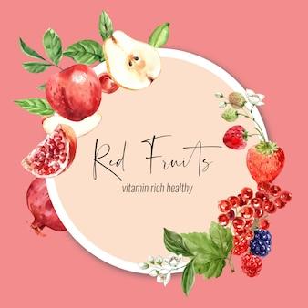 果物をテーマにした花輪、さまざまな果物の水彩イラスト。