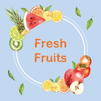 さまざまな果物、創造的な水彩イラストテンプレートと花輪