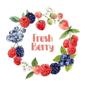 さまざまなミックスベリーフルーツ、鮮やかな色の図テンプレートと花輪