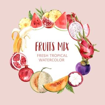 Венок с темой фрукты, различные фрукты акварельные иллюстрации.
