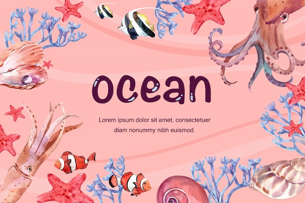 海の下のさまざまな動物のフレーム、創造的な温かみのある色のイラストテンプレート。