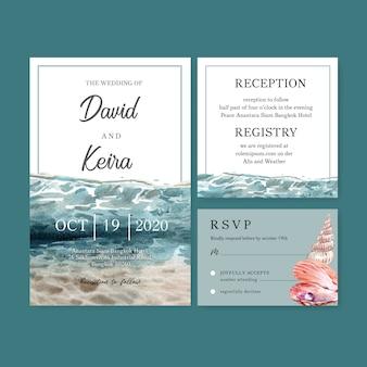 結婚式招待状水彩、水、明るい色のイラストテンプレートの下で。