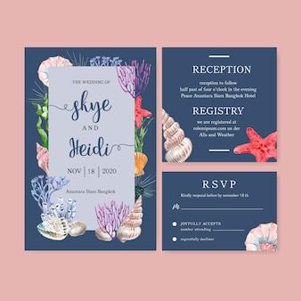 海動物フレーム、青い背景イラストと結婚式招待状水彩