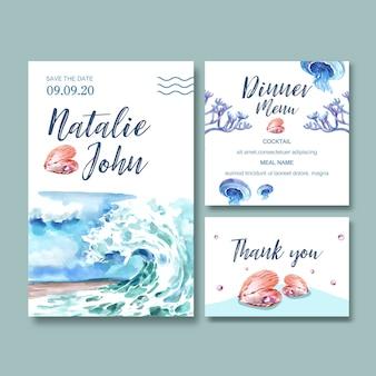 波の概念、創造的な水彩イラストの結婚式招待状水彩画。